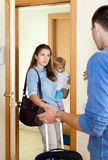 Woman with baby girl leaving from her husband Royalty Free Stock Photos