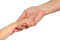 Woman and baby hands. In a white isolated background Royalty Free Stock Image