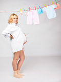 Woman with baby laundry Stock Photo