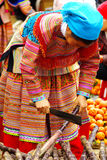 Woman with baby on the market at Bac Ha,Vietnam Stock Photography
