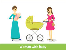 Woman with baby. Woman with newborn baby and baby carriage Stock Photo