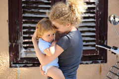 Woman with baby outdoor Royalty Free Stock Images