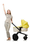 Woman with baby and pram isolated on white Royalty Free Stock Images