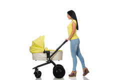 The woman with baby and pram isolated on white Royalty Free Stock Photography