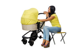 The woman with baby and pram isolated on white Stock Images