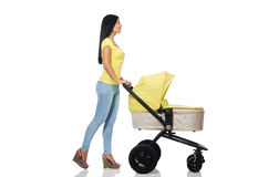 Woman with baby and pram isolated on white Royalty Free Stock Photo