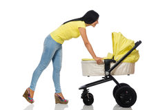 Woman with baby and pram isolated on white Stock Photo