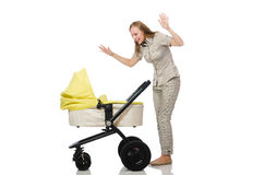 Woman with baby and pram isolated on white Stock Image