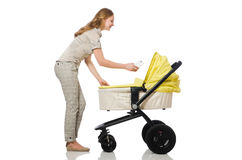 Woman with baby and pram isolated on white Royalty Free Stock Image