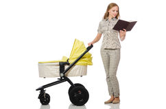 The woman with baby and pram isolated on white Royalty Free Stock Image