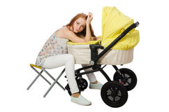 The woman with baby and pram  on white Stock Images