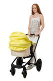 The woman with baby and pram  on white Stock Photography
