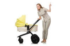 The woman with baby and pram  on white Royalty Free Stock Image