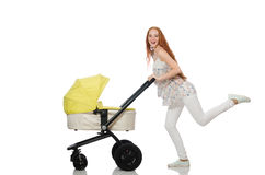 The woman with baby and pram  on white Stock Image