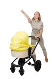 The woman with baby and pram on white Stock Photo