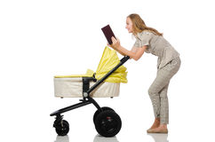 The woman with baby and pram on white Royalty Free Stock Photos