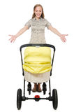 The woman with baby and pram on white Royalty Free Stock Photography