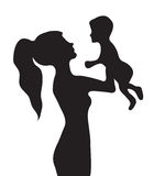 Woman with a baby silhouette.  Royalty Free Stock Image