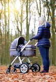 Woman with baby stroller. royalty free stock images