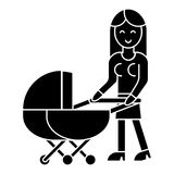 Woman with baby stroller  icon, vector illustration, sign on isolated background Royalty Free Stock Photography