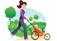Woman with babystroller in park Stock Photos