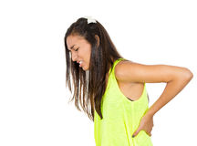 Woman with back ache Royalty Free Stock Images
