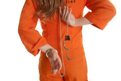 Woman back handcuffs one off Royalty Free Stock Photos