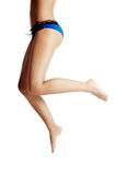 Woman back and legs, in blue underwear Royalty Free Stock Photography