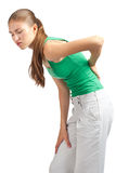 Woman with back pain royalty free stock images