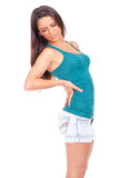 Woman with back pain. Young woman suffering from back pain Stock Images