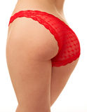 Woman back in red panties Stock Images