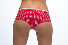 Woman back in red panties Royalty Free Stock Images