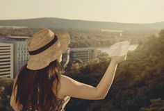 Woman  From Back Standing at Balcony in Sunset Royalty Free Stock Photography
