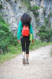 Woman back trekking at Gorge of River Cares Royalty Free Stock Photos