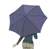 Woman back with umbrella at full length in summer. Elegant slim girl wearing at autumn clothes goes under umbrella. Vector color hand drawing. Back view Royalty Free Stock Photography