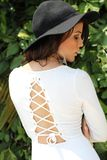 Woman, Back View, White Dress, Hat Royalty Free Stock Photography