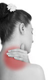 Woman with backache from behind Royalty Free Stock Image