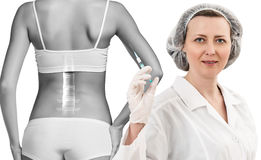 Woman with backache. At the doctor reception over white background Stock Photography