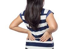 Woman with backache stock image