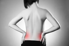 Woman with backache. Pain in the human body Stock Images