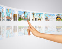 Woman on background of building Stock Photo