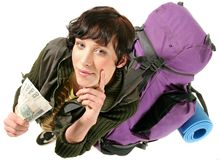 Woman with a backpack. Girl, young woman with a backpack planning a trip-on white Stock Images