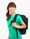 A woman with backpack. A beautiful woman with black backpack on her shoulder isolated on a white background Stock Photos