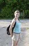 Woman with backpack. Beautiful young woman with backpack Royalty Free Stock Photography