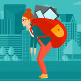 Woman with backpack full of devices. Royalty Free Stock Images