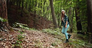Woman with Backpack Hiking in Forest. Smiling young woman in hiking outfit and with backpack walking alone in wood and enjoying fresh air stock video