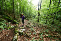 Woman with backpack hiking into the forest Royalty Free Stock Images