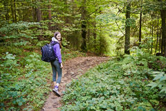 Woman with backpack hiking into the forest Stock Photos