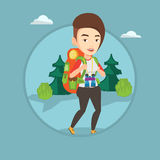 Woman with backpack hiking vector illustration. Stock Images