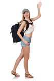 Woman with backpack isolated Stock Photo